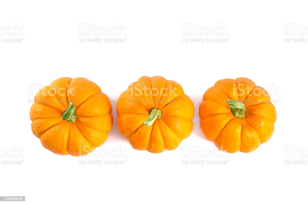 Top view of decorative orange pumpkins