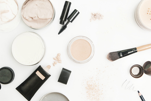 istock Top view of different cosmetics products 513313150