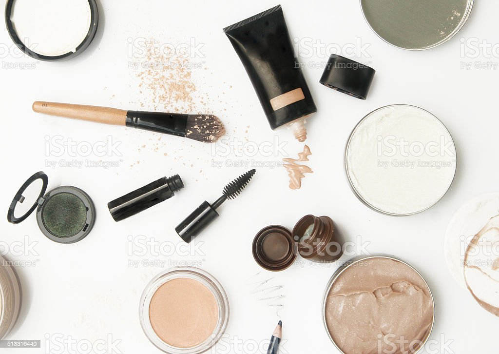Top view of different cosmetics products stock photo