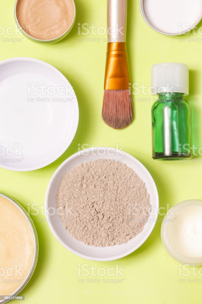 Top view of different cosmetics products royalty-free stock photo