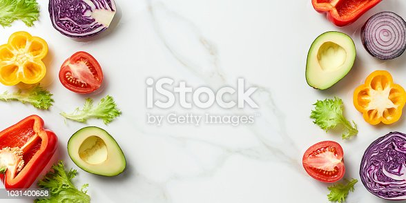 istock top view of different herbs and vegetables isolated on white marble background 1031400658