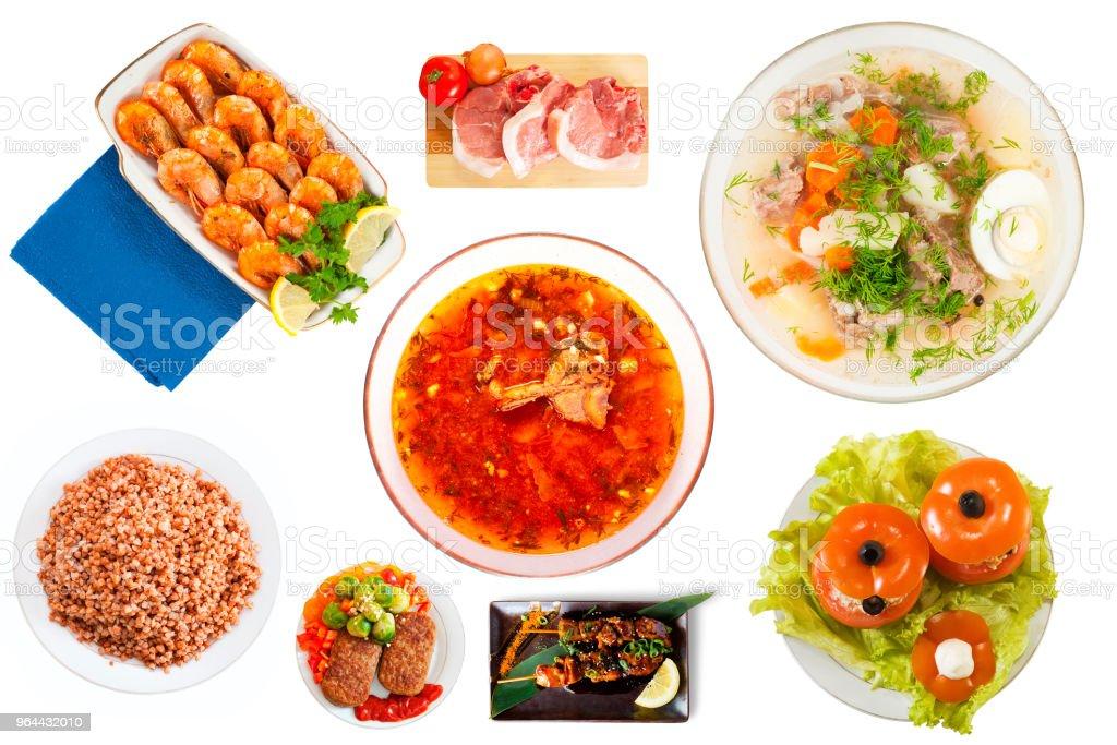 Bovenaanzicht van gerechten geïsoleerd - Royalty-free Avondmaaltijd Stockfoto
