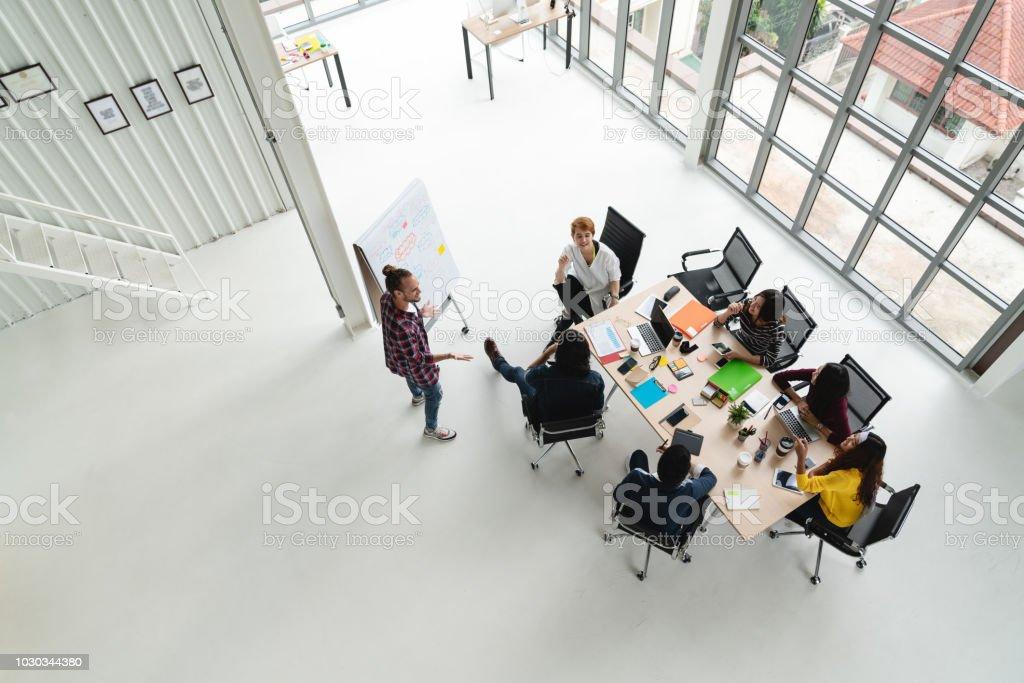 Vue de dessus des divers peuples du groupe de l'équipe créative à l'aide de smartphone, téléphone mobile, tablette et ordinateur portable tout en répondant. Vue aérienne d'asiatique jeune créatif démarre de réunion avec vue grand angle. photo libre de droits