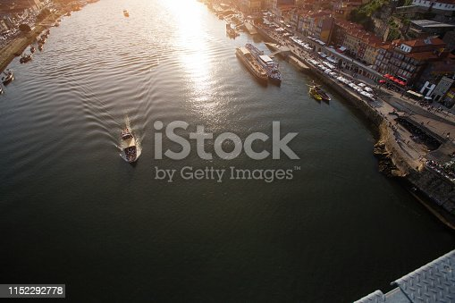 Top view of Douro river from Dom Luis I Bridge in center of Porto - Portugal.