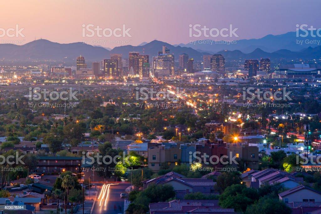 Top view of downtown Phoenix Arizona stock photo