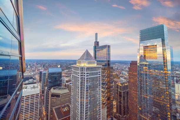 Top view of downtown skyline Philadelphia in Pennsylvania, USA stock photo