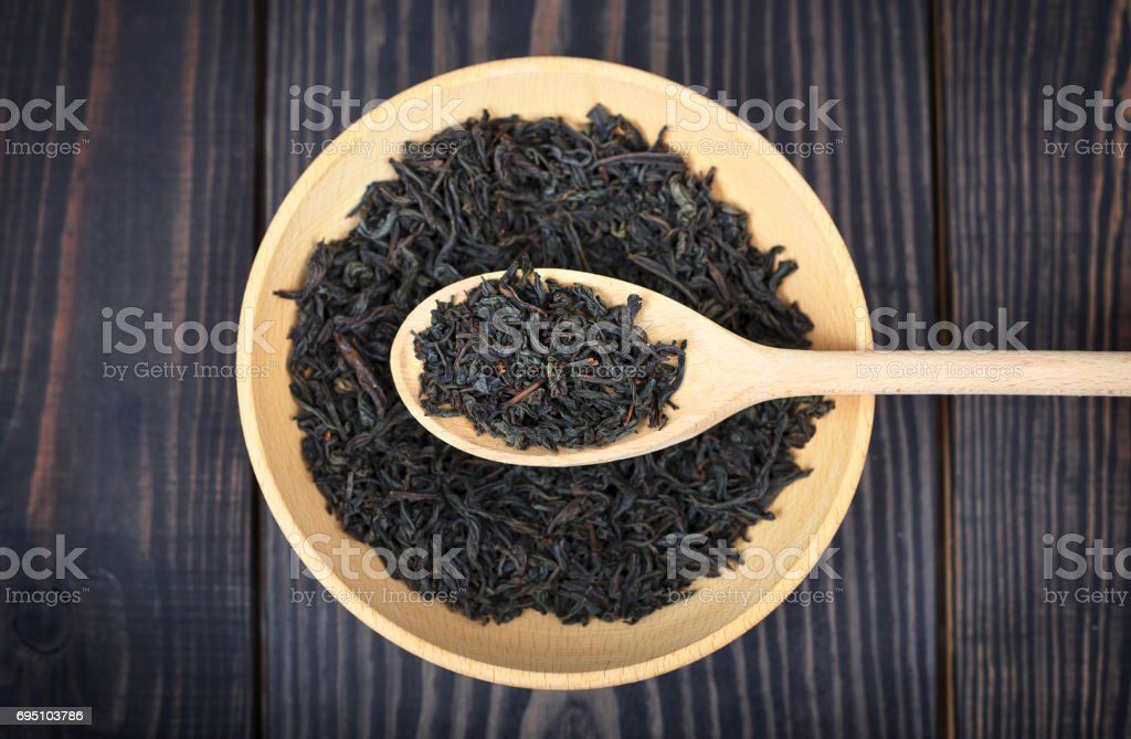 Top view of dried black tea. stock photo
