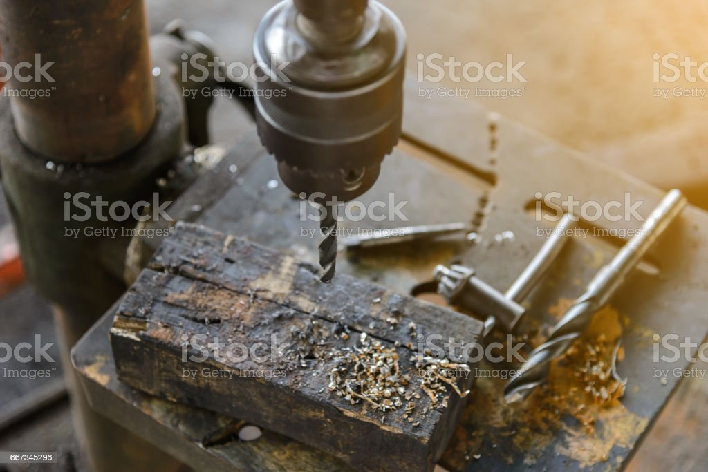 Top view of Drill press in industrial stock photo