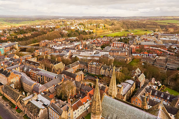 Top view of Durham city, England. A top view of Durham city. This picture was taken on Durham tower which is a part of Durham Cathedral, England. northeastern england stock pictures, royalty-free photos & images