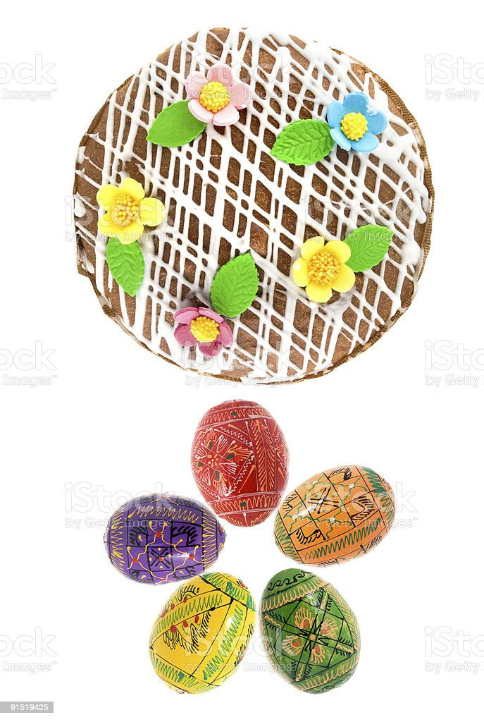 top view of easter eggs and cake royalty-free stock photo