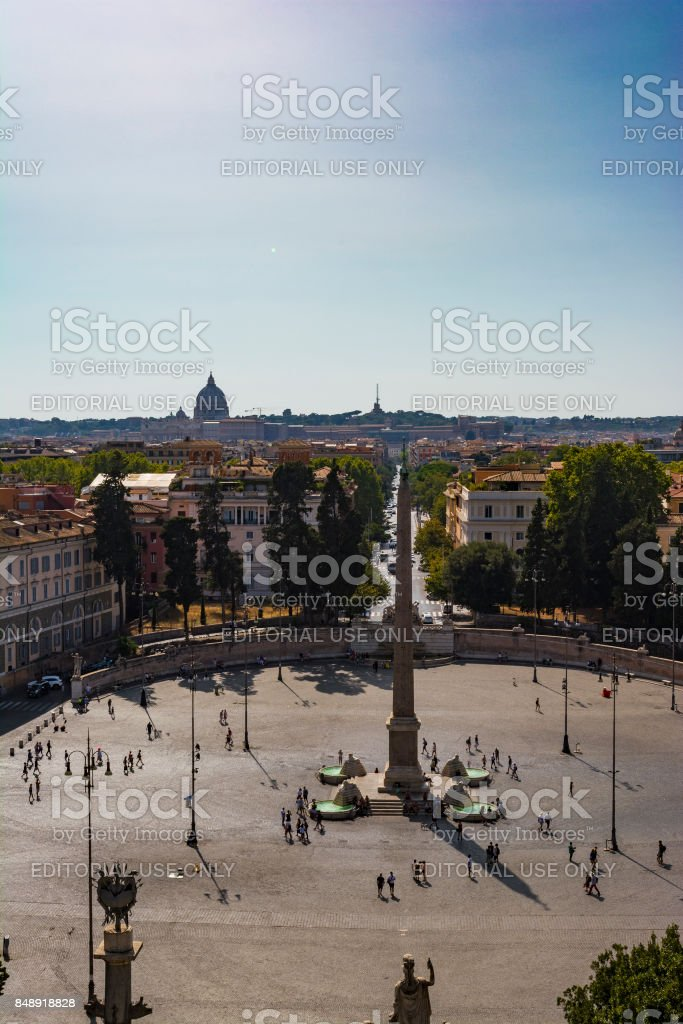Top view of Egyptian Obelisk in Piazza del Popolo, Rome stock photo