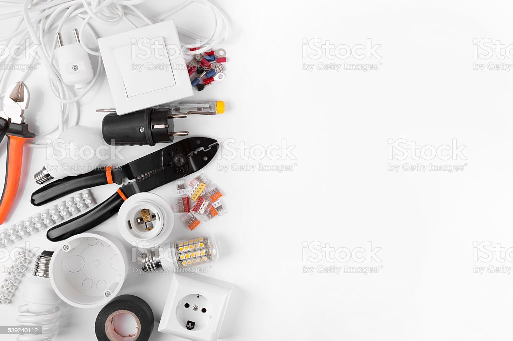top view of electrical tools and equipment on white royalty-free stock photo