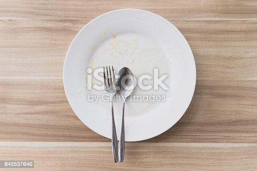 istock Top view of Empty and dirty dish after eating. 845537646