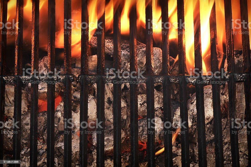 Top View Of Empty Barbecue Grill With Glowing Charcoal stock photo