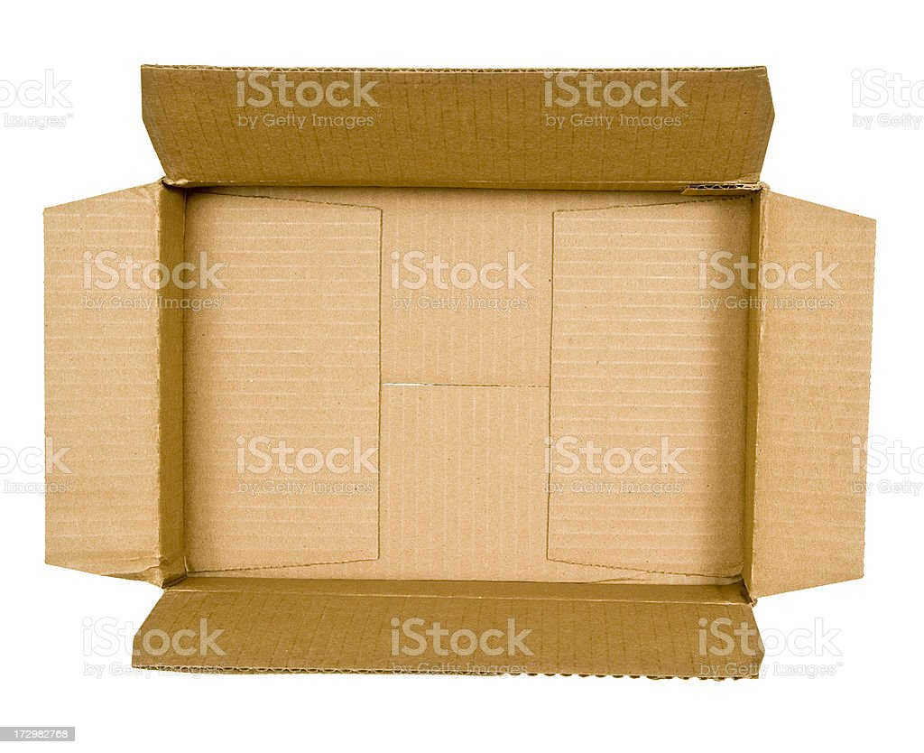 Top view of empty cardboard box on white royalty-free stock photo