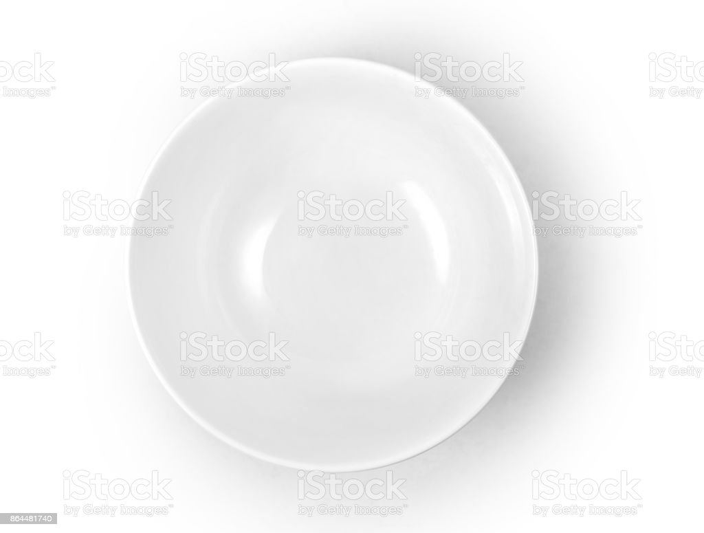 Top view of empty clean bowl isolated on white background stock photo