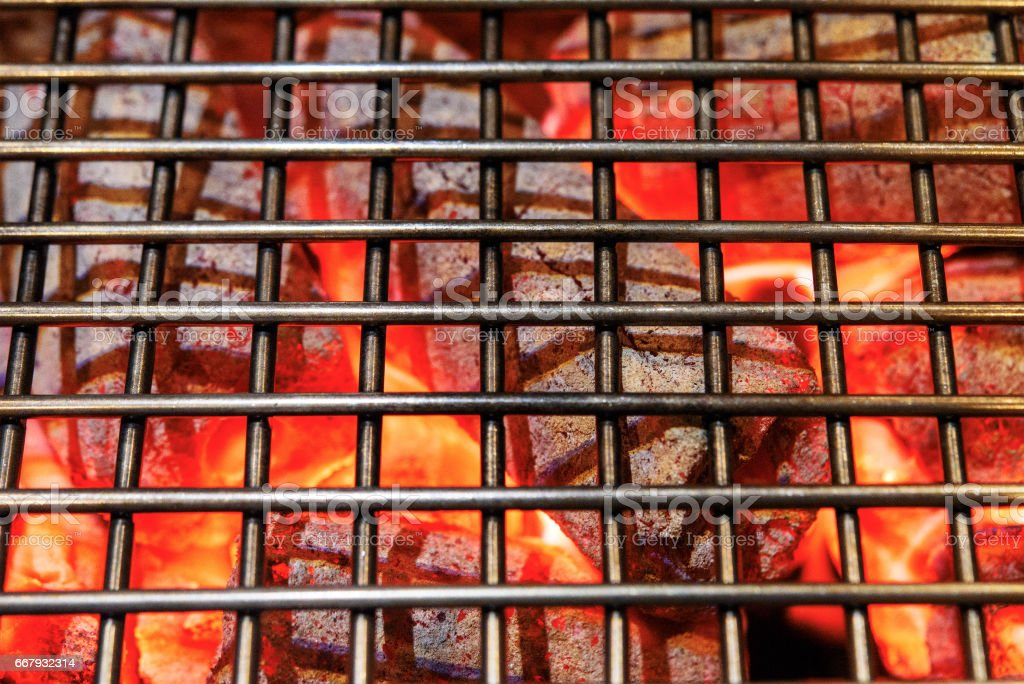 Top View Of Empty Hot Charcoal Barbecue Grill stock photo