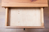 top view of empty open drawer
