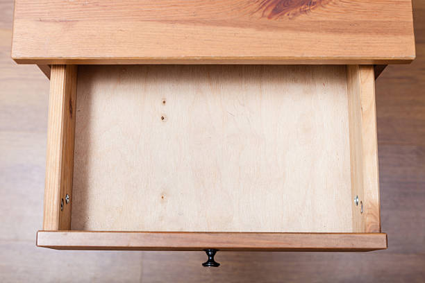 top view of empty open drawer - 옷서랍 뉴스 사진 이미지