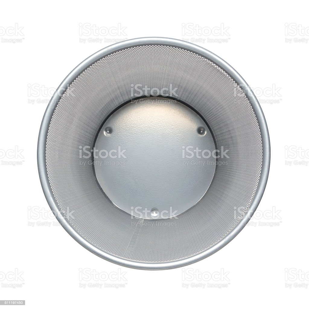 Top view of empty trash. Garbage bin in buiness office stock photo