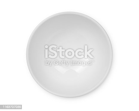 top view of empty white bowl isolated on white background, with clipping path.