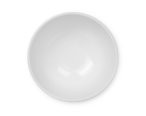 top view of empty white bowl isolated