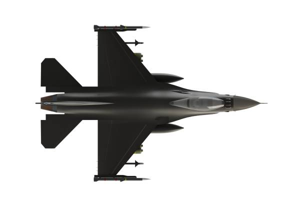 Top view of F16, american military fighter plane on white background, 3D rendering Top view of F16, american military fighter plane on white background, 3D rendering f 16 fighting falcon stock pictures, royalty-free photos & images