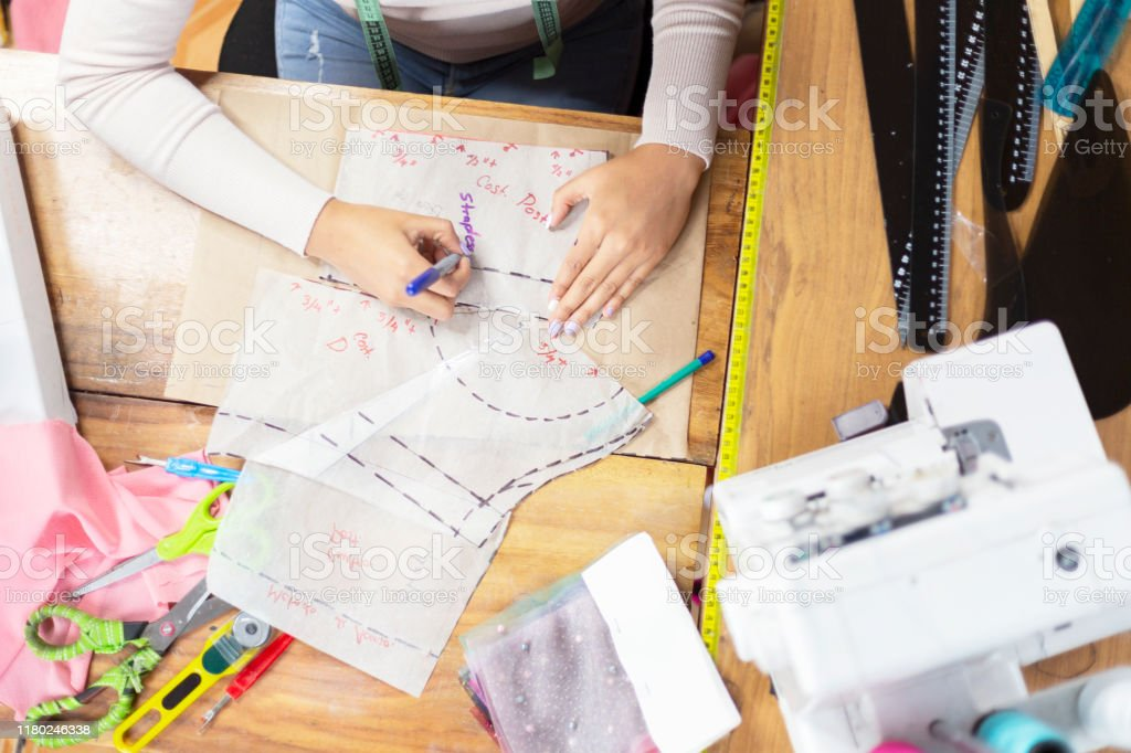 Top View Of Fashion Designer Hands Working On Creative Patterns And Designs Creative Fashion Design Process Stock Photo Download Image Now Istock