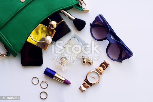 539853444 istock photo Top view of fashion female accessories for woman 524906964