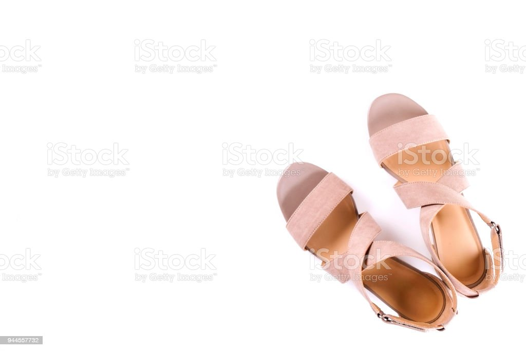 241f71bad Top view of fashionable feminine medium heeled women's leather shoes of  pastel colors on heels / wedge for spring-summer season. - Stock image .
