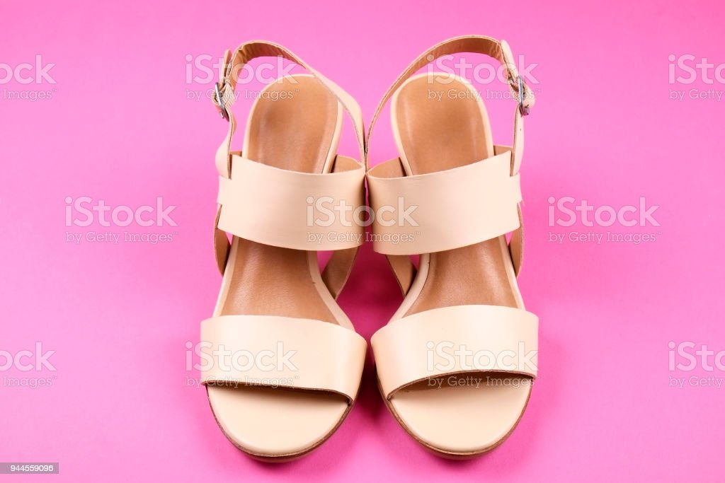 206271e4c Top view of fashionable feminine medium heeled women's leather shoes of  pastel colors on heels /