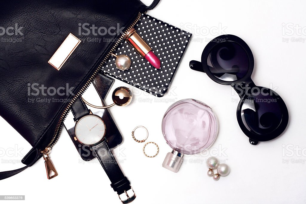 Top view of female trendy accessories for woman. stock photo