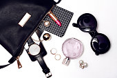 Top view of female trendy accessories for woman.