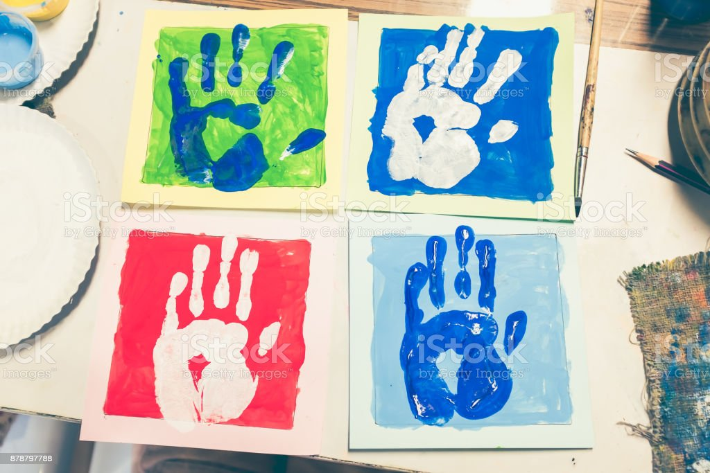 Colored Hand Print Of Watercolor Pop Art Style