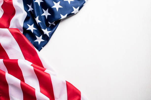 top view of flag of the united states of america on white background.  independence day usa, memorial. - happy 4th of july zdjęcia i obrazy z banku zdjęć