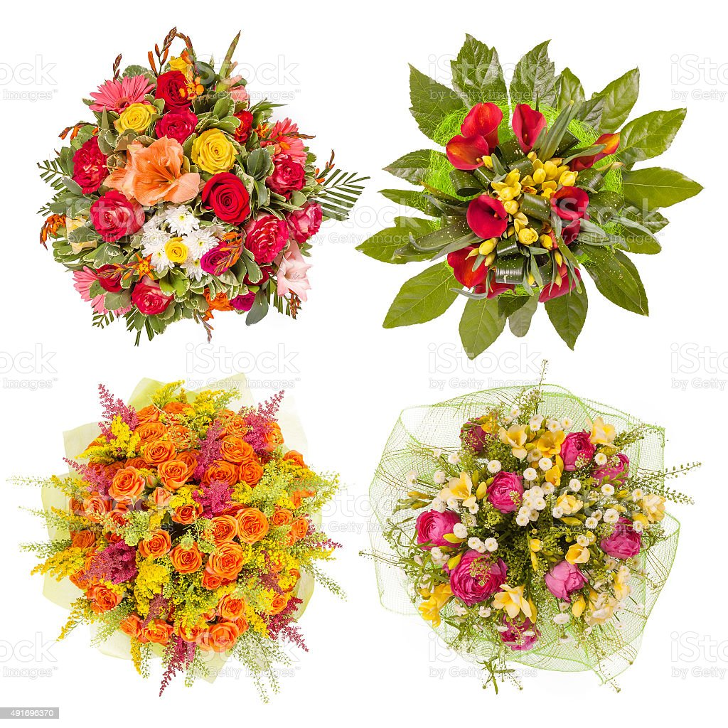 Top View Of Four Colorful Flower Bouquets stock photo 491696370 | iStock