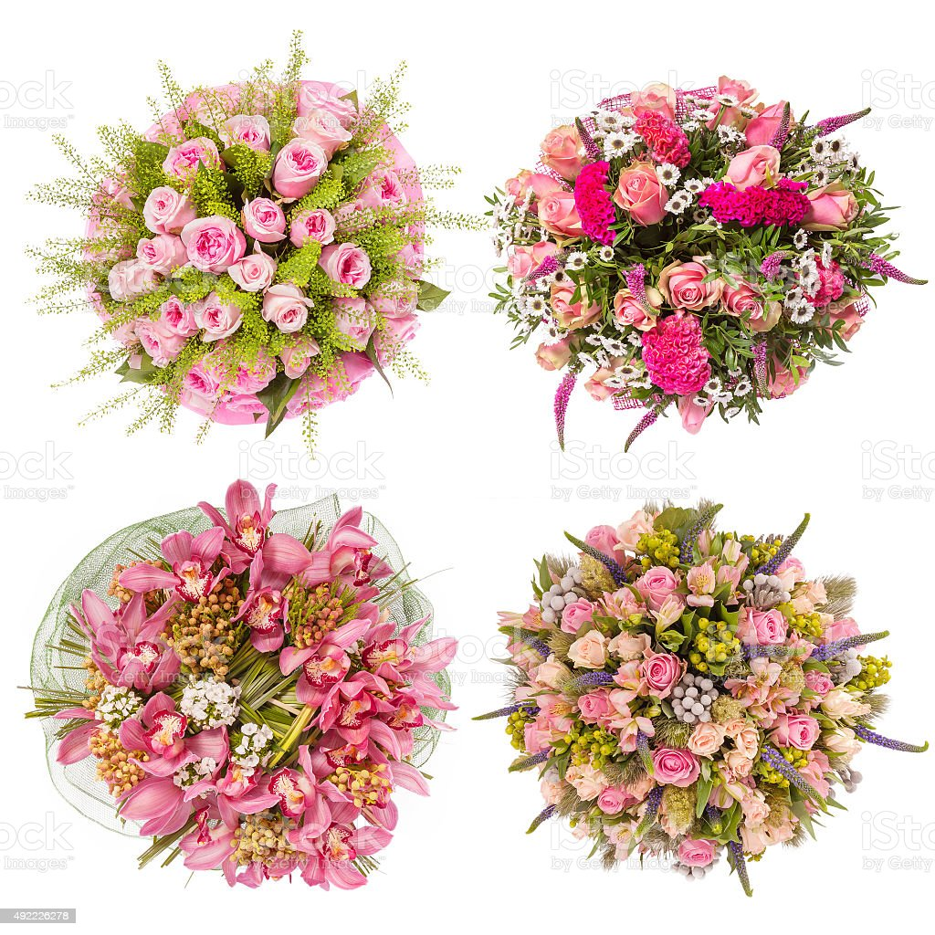 Top View Of Four Colorful Flower Bouquets Stock Photo More