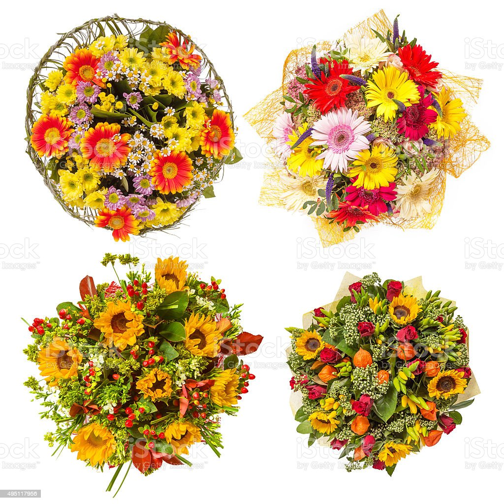 Top View Of Four Colorful Flower Bouquets stock photo   iStock
