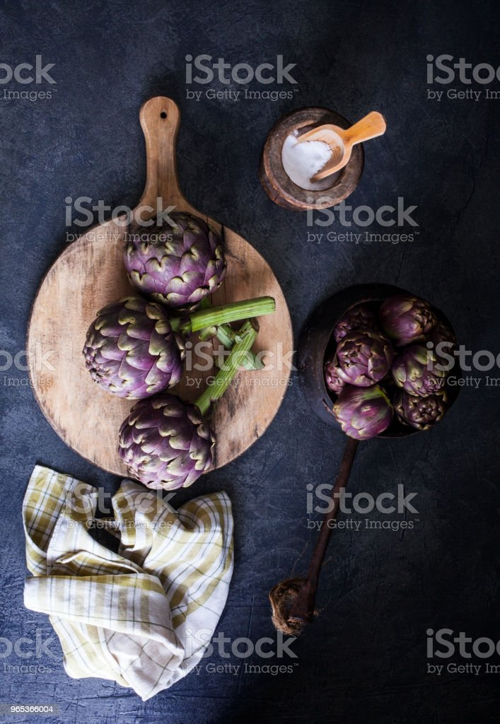 Top view of fresh artichokens royalty-free stock photo