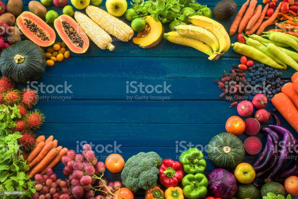 Top view of fresh fruits and vegetables organic on table, Frame of...