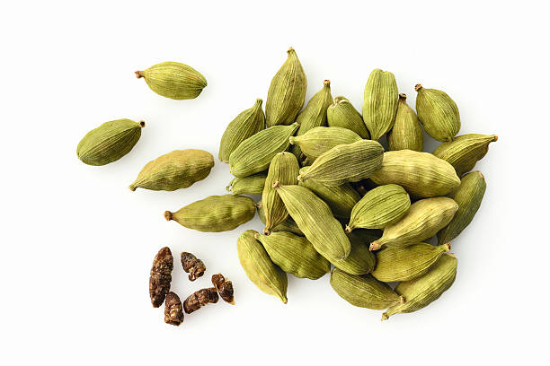 Top View of Fresh Green Cardamom On White Background High Resolution Close up of Cardamom Shot in Studio cardamom stock pictures, royalty-free photos & images
