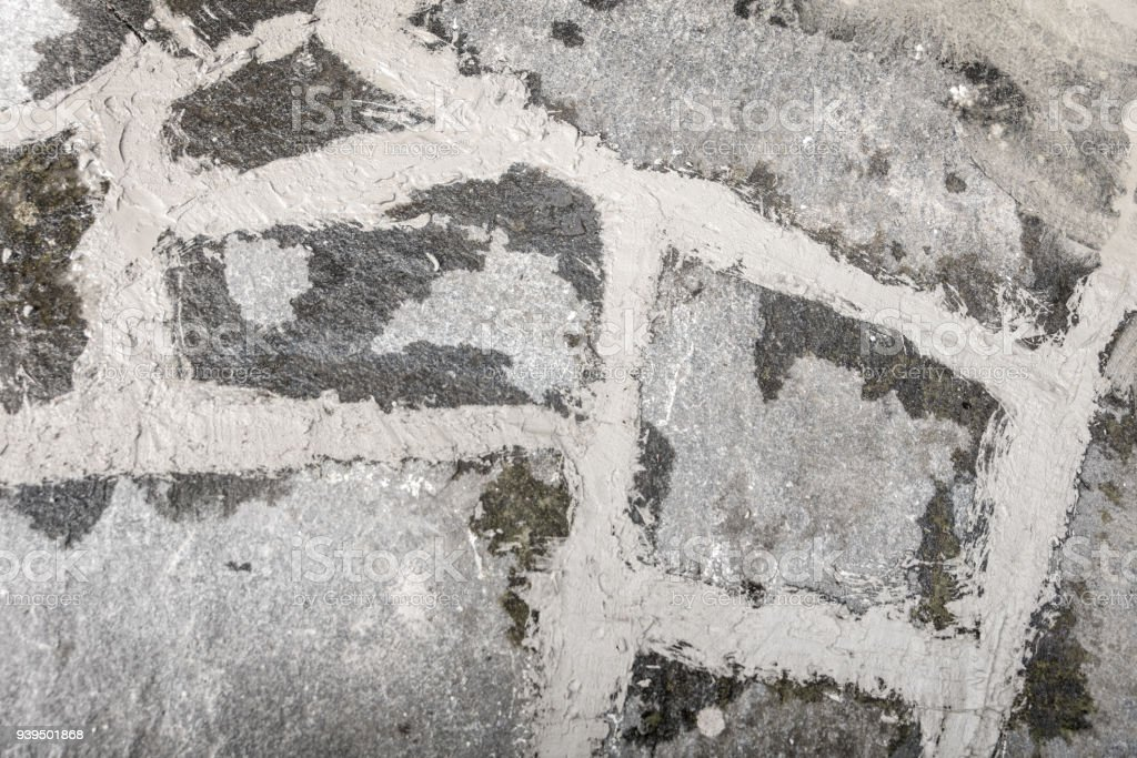 top view of fresh grouted grey flagstones as background stock photo