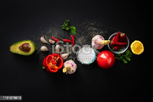 top view of fresh guacamole ingredients, natural organic vegetables on the table, home cooking