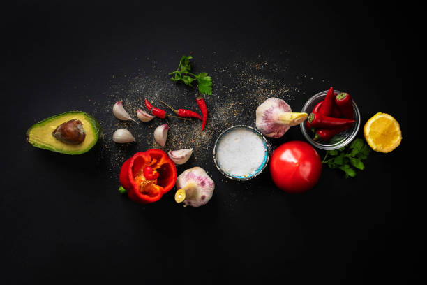 top view of fresh guacamole ingredients, natural organic vegetables on the table, home cookings top view of fresh guacamole ingredients, natural organic vegetables on the table, home cooking ingredient stock pictures, royalty-free photos & images