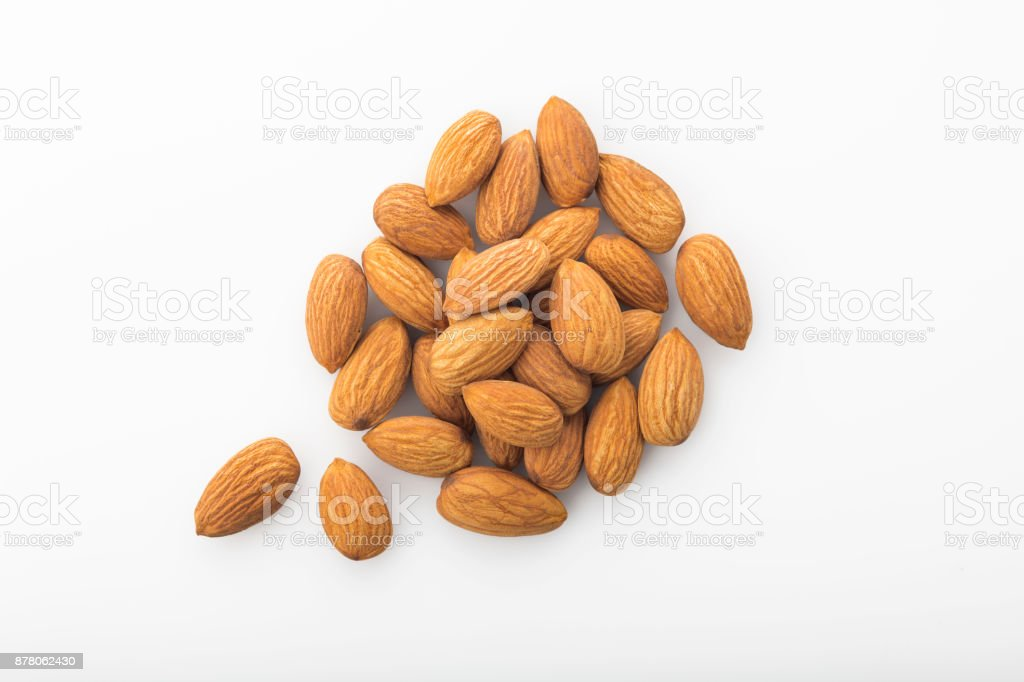 Top View of Fresh Organic Almonds Shot in Studio stock photo