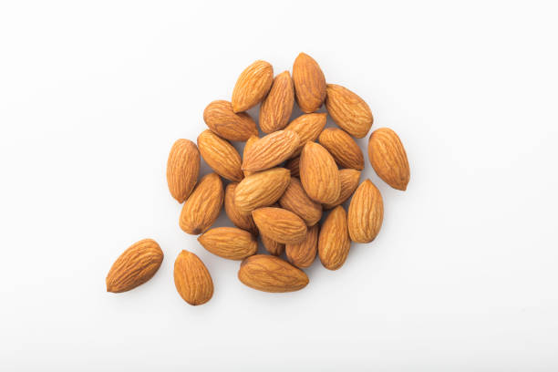 Top View of Fresh Organic Almonds Shot in Studio stock photo