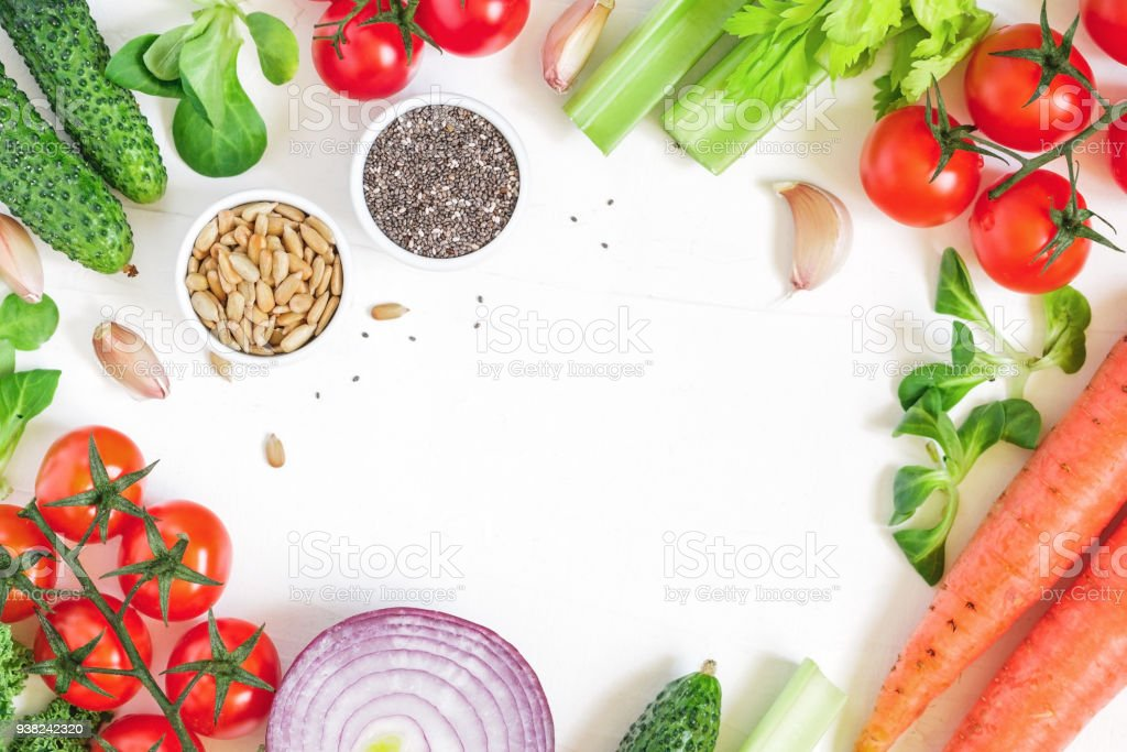 Top View Of Fresh Vegetables Over White Background Healthy And ...
