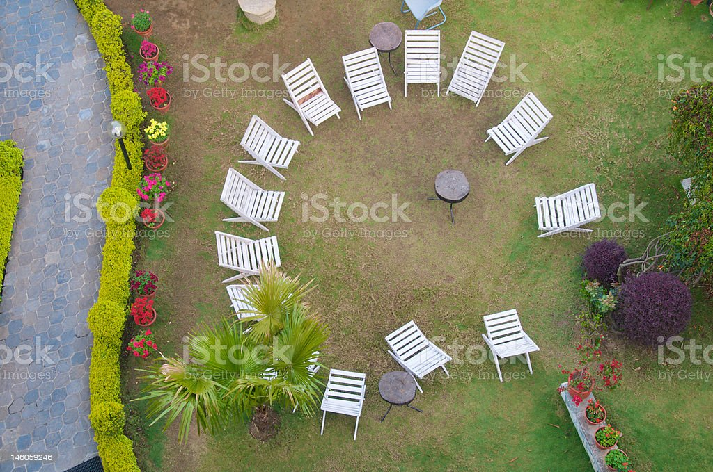 Top View Of Garden Chairs Royalty Free Stock Photo