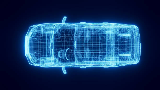 Top view of generic car with wire frame look on black background stock photo