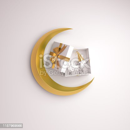 istock Top view of gift box, sheep, gold crescent moon on studio lighting white background. 1157969566